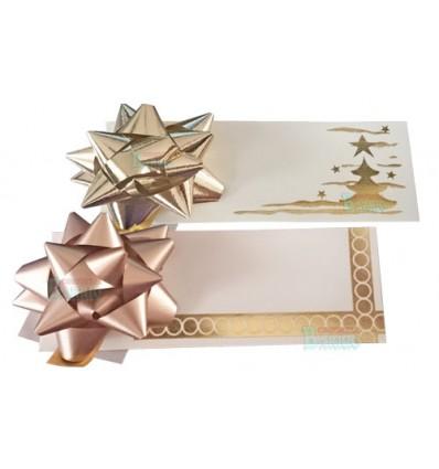Moñas con tarjeta color oro navideña