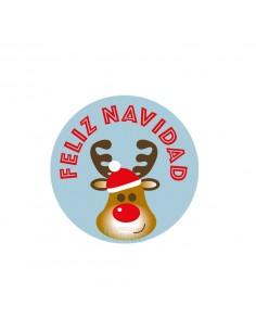 Etiquetas adhesivas para navidad con dibujo de reno y fondo azul