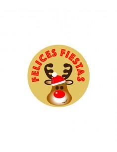 Etiquetas para navidad con imagen de reno con fondo marron