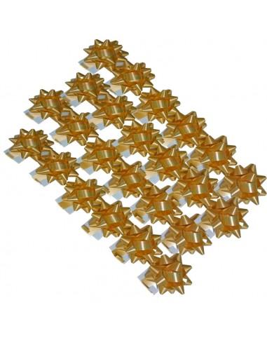 caja de 100 lazos estrella oro mate con adhesivo