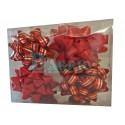 Caja de 12 moñas rojas rayadas
