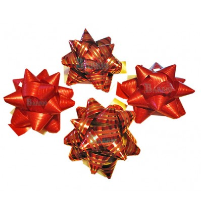 Bolsa de 4 moños rojo y rojo rayado oro