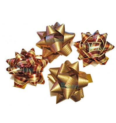 Bolsa de 4 moños oro y oro rayas rojas