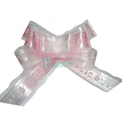 Lazo automatico con tull color rosa y blanco