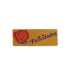 """Etiquetas para regalos """"Felicidades"""" Rosa"""