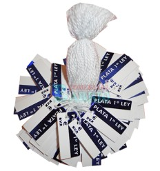 "Etiquetas colgantes para joyeria "" Plata 1ªLey""  azul"