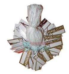 "Etiquetas colgantes para joyeria "" Plata 1 ªLey""  pelicula plata"