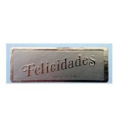 """Etiquetas para regalos """"Felicidades"""" plata mas tinta plata"""
