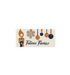 """Etiquetas Navidad  """"Felices Fiestas"""" Vela y Bola oro"""