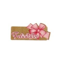 """Etiquetas para regalos  """"Felicidades"""" lazo rosa"""