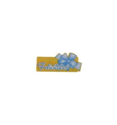 """Etiquetas para regalos  """"Felicidades"""" lazo azul"""