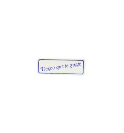 """Etiquetas adhesivas para regalos """"Deseo que te guste"""" lisa en azul"""