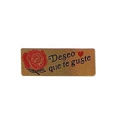 "Etiquetas para regalos  ""Deseo que te guste"" Rosa"
