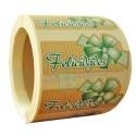 """Etiquetas para regalos  """"Felicidades"""" lazo verde"""