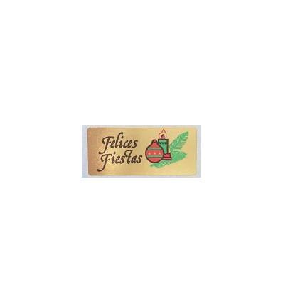 """Etiquetas adhesivas para Navidad """"Felices Fiestas"""" bola y vela en papel oro"""