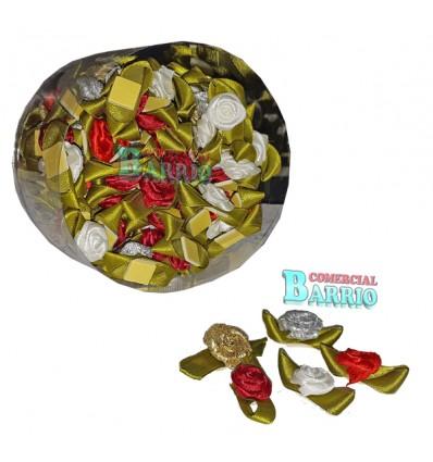 Flores de tela con adhesivo para regalos