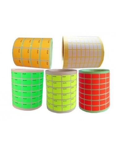 Etiquetas adhesivas para precios en blanco y colores fluor. Etiquetas sin impresion. pegatinas pvp