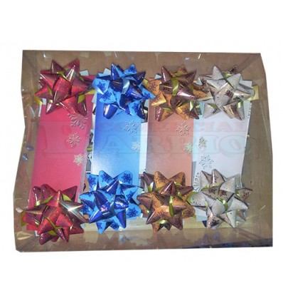 Caja 32 tarjetas con moñas decorativas.