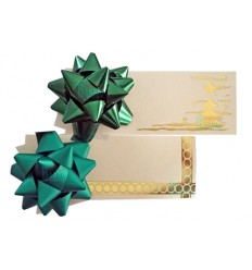 Tarjeta regalo con moño color verde